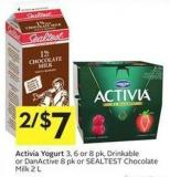 Activia Yogurt 3 - 6 or 8 Pk - Drinkable or Danactive 8 Pk or Sealtest Chocolate Milk 2 L