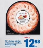 PC Shrimp Platter With Sauce - Cooked - Frozen - 568 G