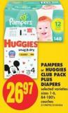 Pampers or Huggies Club Pack Plus Diapers - Sizes 1-6 - 84-180's