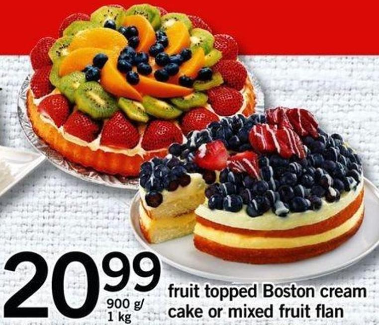 Fruit Topped Boston Cream Cake Or Mixed Fruit Flan - 900 G/ 1 Kg