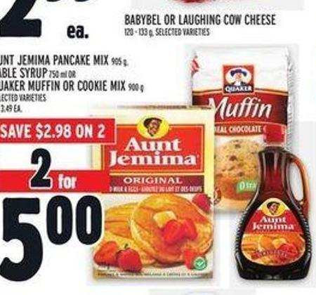 Aunt Jemima Pancake Mix 905 g - Table Syrup 750 ml Or Quaker Muffin Or Cookie Mix 900 g