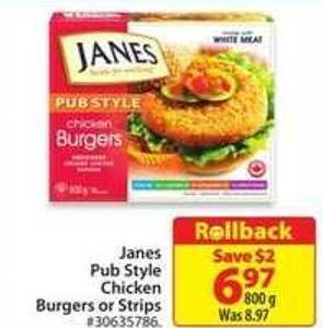Janes Pub Style Chicken Burgers or Strips