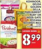 Kohinoor - Gelda Golden Sella - Parliament Ruby Or India Gate Rozana Basmati Rice 4.5 Kg