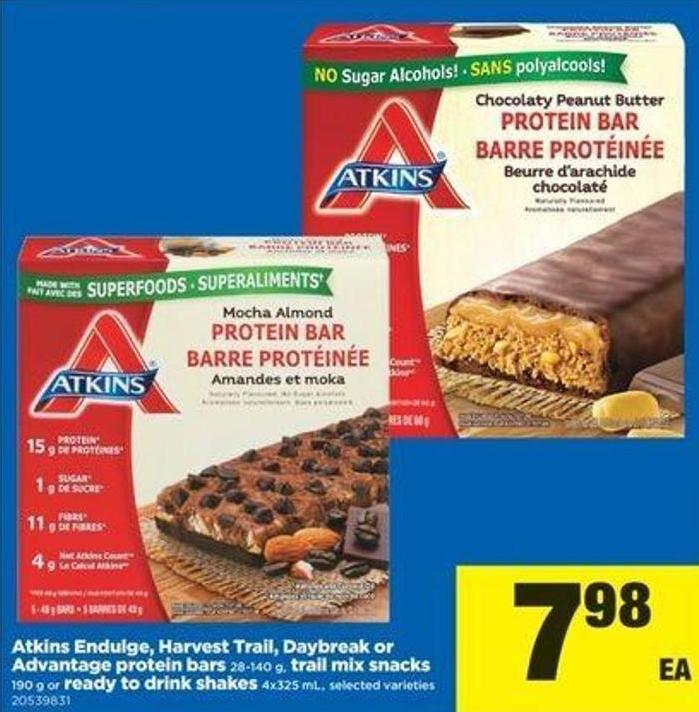 Atkins Endulge - Harvest Trail - Daybreak Or Advantage Protein Bars - 28-140 G - Trail Mix Snacks - 190 G Or Ready To Drink Shakes