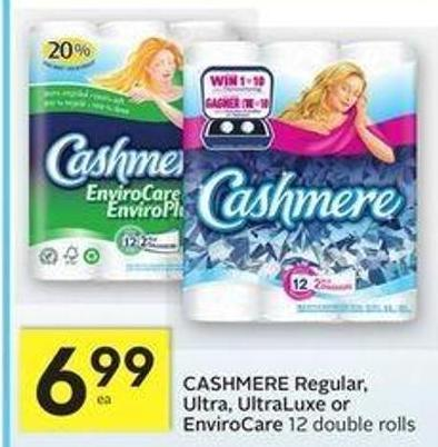 Cashmere Regular - Ultra - Ultraluxe or Envirocare - 15 Air Miles Bonus Miles