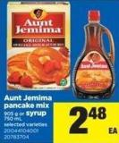 Aunt Jemima Pancake Mix 905 G Or Syrup - 750 mL