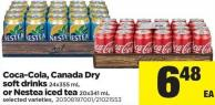 Coca-cola - Canada Dry Soft Drinks - 24x355 Ml Or Nestea Iced Tea - 20x341 Ml