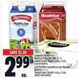 Lactantia Purfiltre Or Beatrice Chocolate Milk 1.5 - 2 L - Liberté Greek Yogurt 4 X 100 G - 2 X 130 G