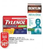 Benylin All-in-one (24's) - Tylenol Complete Caplets (20's - 24's) or Liquid (170ml - 180ml)