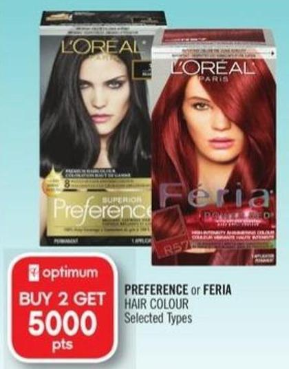 Preference or Feria Hair Colour