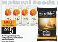 Hardbite Potato Chips - 150 G Or Kiju Organic Juice - 4x200 Ml/1 L