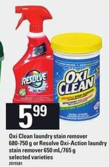 Oxi Clean Laundry Stain Remover.680-750 G Or Resolve Oxi-action Laundry Stain Remover - 650 Ml/765 G