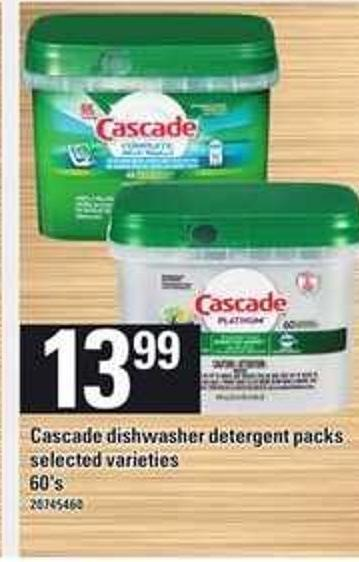 Cascade Dishwasher Detergent Packs - 60's