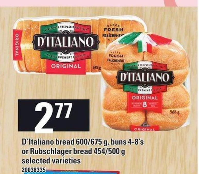 D'italiano Bread 600/675 G - Buns 4-8's Or Rubschlager Bread 454/500 G