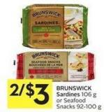 Brunswick Sardines 106 g or Seafood Snacks 92-100 g