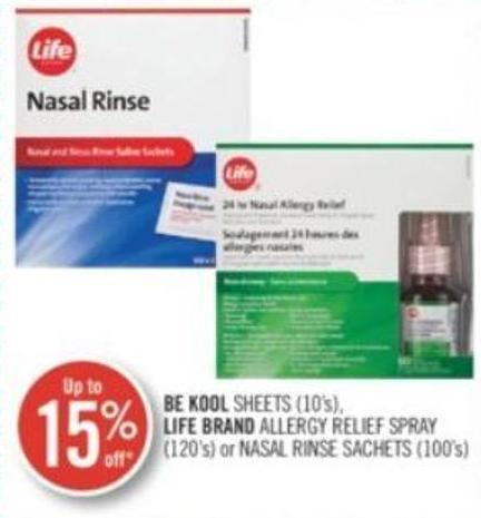 Be Kool Sheets (10's) Life Brand Allergy Relief Spray (120 'S) or Nasal Sachets (100's)