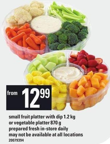 Small Fruit Platter With Dip Or Vegetable Platter - 870 g
