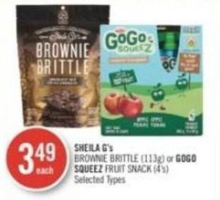 Sheila G's Brownie Brittle (113g) or Gogo Squeez Fruit Snack (4's)