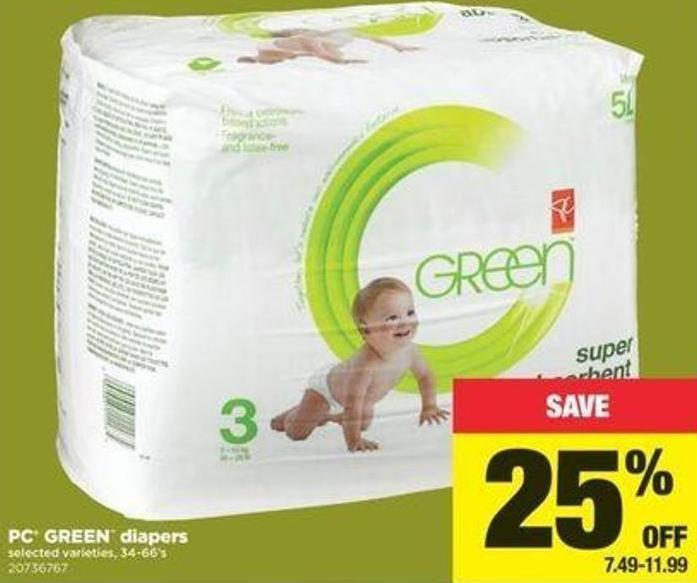 PC Green Diapers - 34-66's