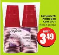 Compliments Plastic Beer Cups