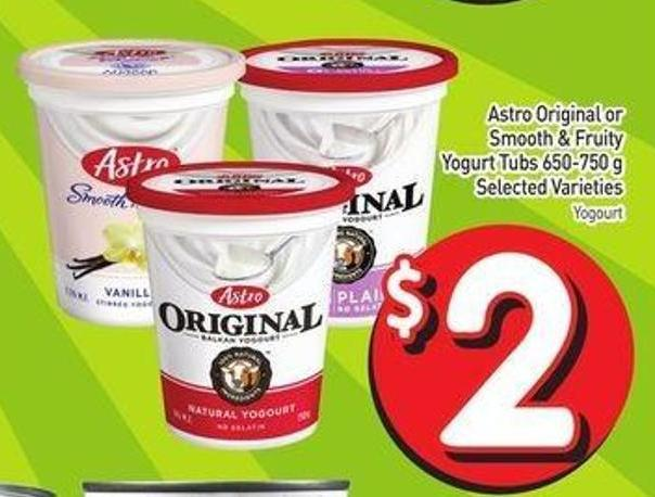 Astro Original or Smooth & Fruity Yogurt Tubs 650-750 g