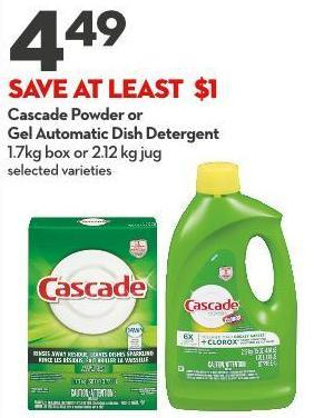 Cascade Powder or  Gel Automatic Dish Detergent 1.7kg Box or 2.12 Kg Jug