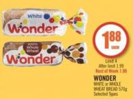 Wonder White or Whole Wheat Bread