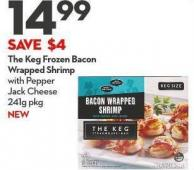 The Keg Frozen Bacon Wrapped Shrimp  With Pepper  Jack Cheese 241g Pkg New