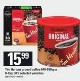 Tim Hortons Ground Coffee 640-930 G Or K-cup 30's