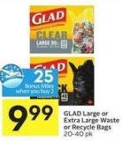 Glad Large or Extra Large Waste or Recycle Bags 20-40 Pk 25 Air Miles Bonus Miles