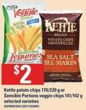 Kettle Potato Chips 170/220 g Or Sensible Portions Veggie Chips 141/142 g