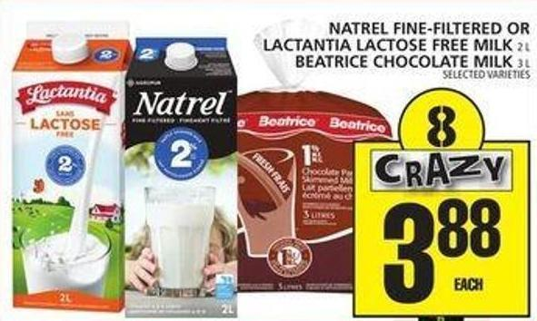 Natrel Fine-filtered Or Lactantia Lactose Free Milk Or Beatrice Chocolate Milk
