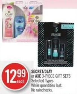 Secret/olay or Axe 3-piece Gift Sets