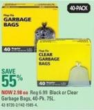 Outdoor Black or Clear Garbage Bags - 40-pk