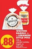 Weston Bagels - 4's or Lebanese Style Pita - 330 g