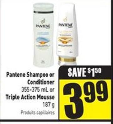 Pantene Shampoo or Conditioner 355-375 mL or Triple Action Mousse 187 g