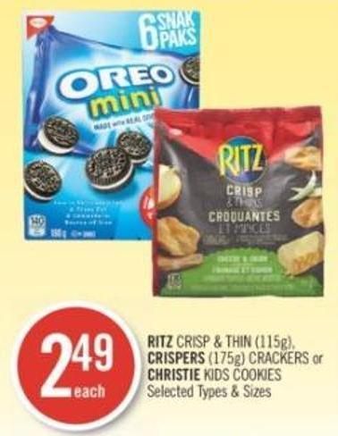 Ritz Crisp & Thin (115g) - Crispers (175g) Crackers or Christie Kids Cookies