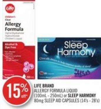 Life Brand Allergy Formula Liquid (100 Ml- 250 Ml) or Sleep Harmony 80 Mg Sleep And Capsules (14's-28's)