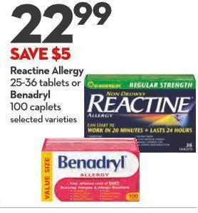 Reactine Allergy 25-36 Tablets or