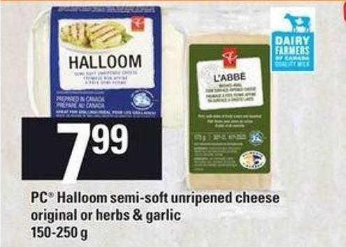 PC Halloom Semi-soft Unripened Cheese Original Or Herbs & Garlic