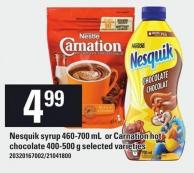 Nesquik Syrup 460-700 Ml Or Carnation Hot Chocolate 400-500 G