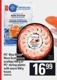 PC Blue Menu Nova Scotian Sea Scallops - 400 G Or PC Shrimp Platter With Sauce - 568 G