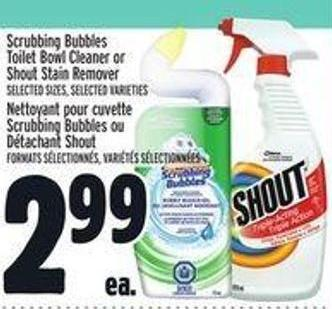 Scrubbing Bubbles Toilet Bowl Cleaner Or Shout Stain Remover