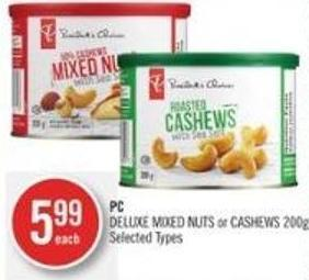 PC Deluxe Mixed Nuts or Cashews 200g