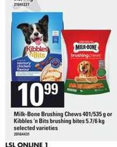 Milk-bone Brushing Chews - 401/535 G Or Kibbles 'N Bits Brushing Bites - 5.7/6 Kg