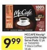 Mccafé Keurig Compatible Single Serve Pods 12 Pk or Tassimo T Discs Coffee 14 Pk