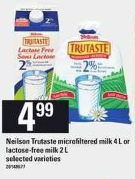 Neilson Trutaste Microfiltered Milk 4 L Or Lactose Free Milk 2 L