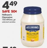 Hellmann's  Mayonaisse  750-890ml Jar