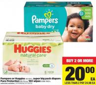 Pampers Or Huggies - 42-124's - Super Big Pack Diapers Pure Protection - 38-74's or 16x Wipes - 1008-1152's