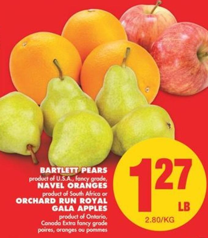 Bartlett Pears - Navel Oranges - Orchard Run Royal Gala Apples